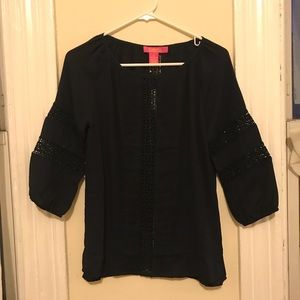 Navy blouse with cute details